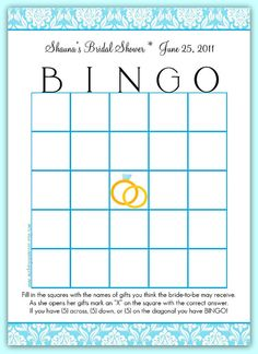 Free Printable Bridal Bingo Template | Bridal Shower Bingo ...