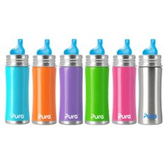 Kiki Pura Stainless Steel Sippy Cup. Nipples/tops grow with your child as they get older with changeable silicone tops.