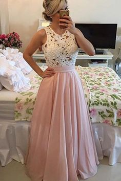 Floor length Chiffon Prom Dress Evening Dresses With Lace Pearls M1424