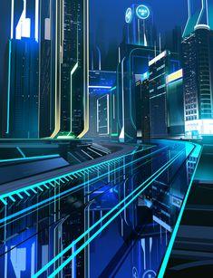 tron city road and towers Cyberpunk City, Arte Cyberpunk, Futuristic City, Futuristic Architecture, Futuristic Technology, Science Fiction, Up Imagenes, Tron Art, Tron Uprising