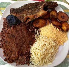 Waakye with gari and fish