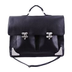 DARK MESSENGER Satchel Briefcase by Restyle (3.510 RUB) ❤ liked on Polyvore featuring bags, satchel handbags, leather satchel, genuine leather messenger bag, satchel bag and courier bag