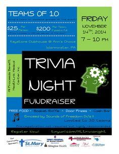Join us on Friday 11/14 for our Trivia Night Fundraiser! $25pp or $200 for a team of 10 players!