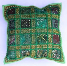 indian Handmade Patchwork cotton Cushion Cover Home Decor Pillow Cases KH103 #Handmade #Ethnic