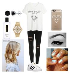 """Diamonds"" by moniqueforeverz ❤ liked on Polyvore featuring adidas, WithChic, Casetify, Victoria's Secret, BERRICLE, Michael Kors, gold and diamonds"