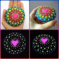 If you need a little extra in your life then have a look at this interesting looking, colorful, glowing in the dark large sized mandala stone 👀 Isn't it just special?I used glow in the dark contour liner to make the colorful glowing dots. Painted Garden Rocks, Mandala Painted Rocks, Mandala Rocks, Painted Stones, Dot Art Painting, Stone Painting, Mandala Painting, Mandala Stencils, Pebble Painting