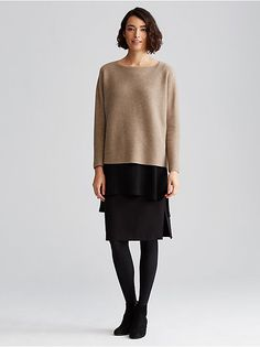 ALMOND. Undyed Cashmere Links Box-Top $398 Eileen Fisher