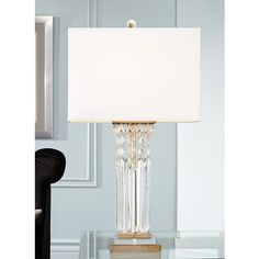 Possini Euro Design Lucile Hanging Crystal Modern Table Lamp