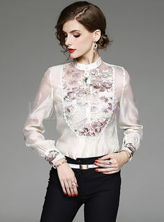 Shop Elegant Embroidery Patched Slim Blouse at EZPOPSY. Stylish Clothes For Women, Stylish Outfits, Fashion Outfits, Trendy Clothing, Office Outfits, Fashion Clothes, Size Clothing, Online Dress Shopping Sites, Cheap Cocktail Dresses