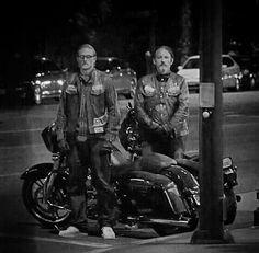 Sons of Anarchy, SAMCRO, SOA, bikers, brothers, family, great tv, Jax and Chibs, bike, wheels, portrait, photo b/w