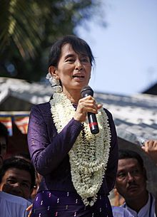 Aung San Suu Kyi, Burmese opposition politician and Nobel Peace Prize winner. http://www.bbc.co.uk/news/world-asia-pacific-11685977