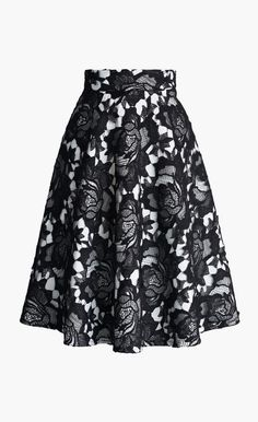My Dear Roses Lace A-line Midi Skirt in Black