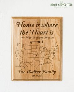 Personalized Wood Map Plaque, Gift for New Home, Housewarming Gifts, Family Wood Sign, Home is Where the Heart Is Map Gifts, Home Decor Art