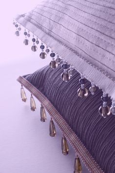 Lilac & Lavender Cushions/Pillows with Bead Fringe ....