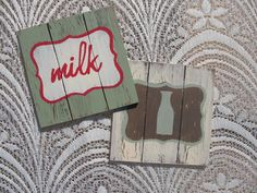 """To order: info@primabella.net  Distressed Wooden Coasters. Set of 4  """"coffee"""", """"coffee mug"""", """"tea"""", """"tea cup"""", """"soda"""",  """"soda glass"""", """"milk"""",   """"milk bottle"""", """"bird"""" & """"heart""""designs   (available in English & Afrikaans) R75  Available in various pastel colors.  Home Decor Gifts - Home Decor Ideas - Gift Ideas - DIY ideas"""
