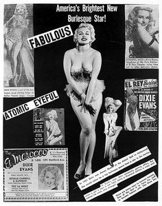 """Dixie Evans..   """"America's Brightest New Burlesque Star!""""    An early promo press package distributed to possible venue owners, via her Rep Agency"""