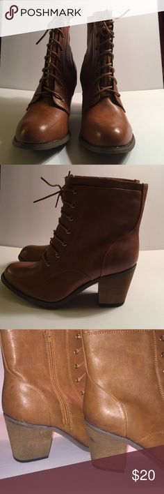 CA Collection Lace Up Boot Caramel color lace up boot has a side zipper for foot entry with decorative front lace. Pic 3 shows a mark on the heel and pic 1 shows an indentation. Boot has never been worn. CA Collection Shoes Lace Up Boots