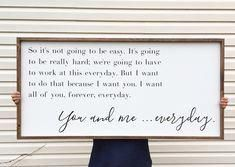 Large Above Bed Sign, You And Me Everyday Framed Wood Sign, The Notebook Home Decor, Movie Quote Custom Wall Art, Love Sayings. Home Decor Signs Sayings Man Home Decor, Bedroom Decor, Wall Decor, Wall Art, Teen Bedroom, Master Bedrooms, Bedroom Ideas, Framed Wall, Bedroom Wardrobe