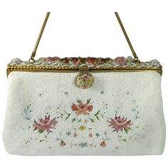 THE VINTAGE JEWELRY BOUTIQUE on Ruby Lane http://www.rubylane.com/item/699521-BP-0209/Vintage-Glass-Bead-Enamel-Embroidered #beaded #purse