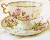 Vintage Footed Teacup-Lusterware, Floral