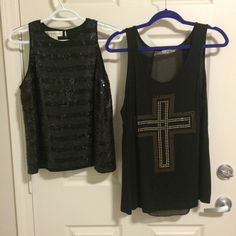 BUNDLE: Two black dressy tanks The sequined shirt is a size 8 and is from Jones New York, but it fits pretty snug. It was originally $50. The cross tank is from target and is a small, missing a few rhinestones, but barely noticeable. Was originally $20. Both barely worn. Tops Tank Tops