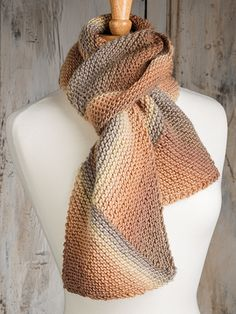 Free knitting pattern for On the Bias Scarf using multi-color yarn and short rows. Free with free registration at Annie's