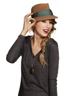 Taylor Swift, brown hat + gray shirt