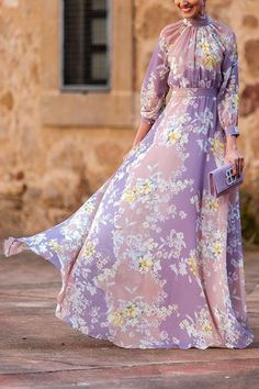 Pleated Maxi, Maxi Dress With Slit, Dress Long, Chic Outfits, Fashion Outfits, Elegant Maxi Dress, Purple Dress, Types Of Sleeves, Dresses With Sleeves