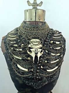 Black Leather Bone and Chain Breast Plate Body by AdornedImmortal