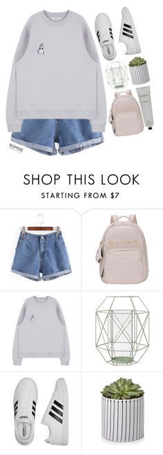 """#Romwe"" by credentovideos ❤ liked on Polyvore featuring Bloomingville, adidas and Rodin Olio Lusso"