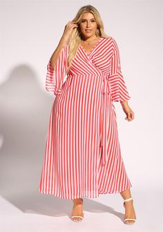 Plus Size Clothing | Plus Size Pinstripe Bell Sleeve Wrap Maxi Dress | Debshops