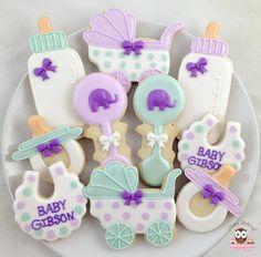 Baby Shower Cookies, Elephant Cookies, bib cookies, pram cookies, stroller cookies, baby bottle cookies, rattle cookies, gender neutral cookies
