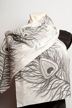 READY TO SHIP Hand Painted Silk  Cotton Scarf  by LigaKandele