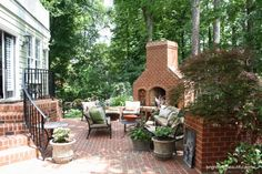 Outdoor Brick Fireplace and Patio Design #BHGSummer