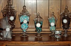 Tiffany Blue and Chocolate Brown Candy Buffet - Stylish Party Rentals & Candy Buffets