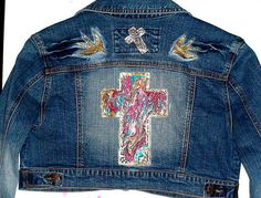 JACKETS Upcycled clothing Jean Glam Rocker OOAK Hand Painted CROSS Women Clothes Jean Jacket Clothing For Women Unique Women Jackets Jean on Etsy, $189.99