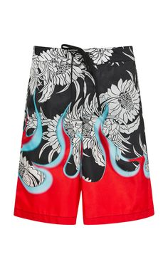 4e1decdaae719 Flame And Dahlia-Print Bermuda Swim Trunks by PRADA Now Available on Moda  Operandi Prada