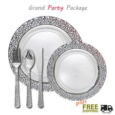 Posh Party Supplies - Inspiration VALUE Clear and Silver Party Package, $209.99 (http://www.poshpartysupplies.com/elegant-dinnerware/on-sale-now/inspiration-value-clear-and-silver-party-package/)
