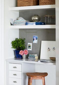 idea for one wall of breakfast nook: small desk space with small row of drawers, shelving above