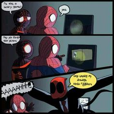 slenderman and spiderman Marvel Heroes, Marvel Dc, Deadpool X Spiderman, Funny Jokes, Hilarious, Creepypasta Cute, Jeff The Killer, Spideypool, Scary Stories