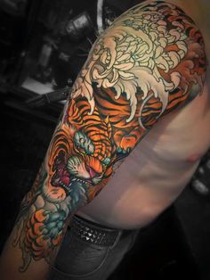 Discover recipes, home ideas, style inspiration and other ideas to try. Mask Japanese, Japanese Tiger Tattoo, Japanese Sleeve Tattoos, Japanese Tattoos For Men, Tiger Forearm Tattoo, Tiger Tattoo Sleeve, Tattoo Sleeve Designs, Creative Tattoos, Great Tattoos