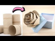 Roses Using Toilet Paper Rolls - How to Make Roses from Toilet Paper Rolls Toilet Paper Roll Diy, Toilet Roll Craft, Toilet Paper Roll Crafts, Cardboard Crafts, Cardboard Tubes, Yarn Crafts, Diy Crafts For Gifts, Crafts To Make, How To Make Rose