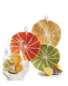 Citrus Slice Dishcloth: free knitting pattern
