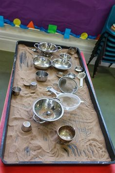 Sand table and metal utensils - Pen Green -AISWA Scotland Study Tour ≈≈… Eyfs Activities, Nursery Activities, Toddler Activities, Pub Table And Chairs, Round Pub Table, Bar Tables, Sensory Table, Sensory Bins, Reggio Emilia