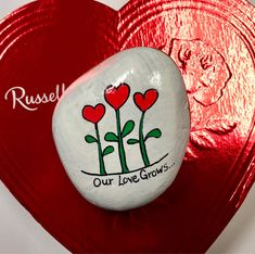 Valentine Painted Rock, Valentine's Day Gift, Our Love Grows Painted Stone, Hearts, Gift for Loved One, Hand-Painted Rocks by AlleluiaRocks on Etsy