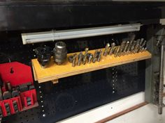 Mill Tooling Rack by Wmrra13 -- Hi, I made this crude mill tooling rack. It hangs from my first attempt at a French cleat. Hey guys,  I'm not sure why the photos show up as links and not thumbs or just embedded images. Can someone please help me? Thanks,...
