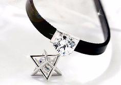Geometric Twin Crystal Star Choker Necklace