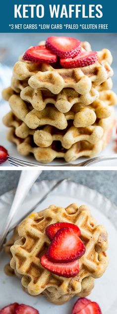 These Keto Waffles are so easy to make and the perfect low carb breakfast when you're craving crispy and fluffy waffles. This low carb waffle recipe is a healthy breakfast or brunch that's also paleo Keto Waffle, Waffle Recipes, Brunch Recipes, Breakfast Recipes, Dessert Recipes, Breakfast Ideas, Keto Friendly Desserts, Low Carb Desserts, Low Carb Recipes