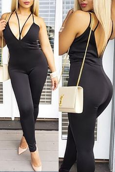 Sexy Spaghetti Straps Sleeveless Hollow-out Black Cotton Blends One-Piece Skinny Jumpsuits
