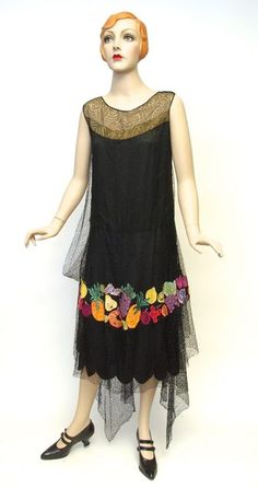 Dress, silk net, lace, appliqued silk, unlabelled, c. 1928-1929